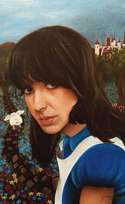 Grace Slick Painting - White Rabbit by Jena Rockwood
