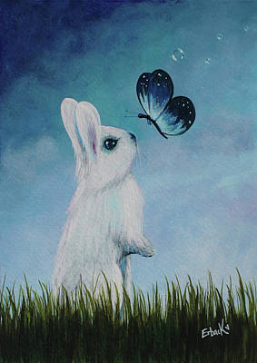 White Rabbit With Butterfly Paintings Art Print by Shawna Erback
