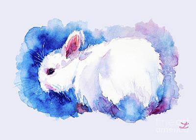 Painting - White Rabbit by Zaira Dzhaubaeva