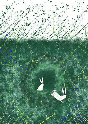 Grass Mixed Media - White Rabbits  by Andrew Hitchen