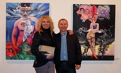 Photograph -  White Raven And Miss Tornado At The Plaxall Gallery by Yelena Tylkina