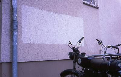 Photograph - White Rectangle And Vintage Bikes by Nacho Vega