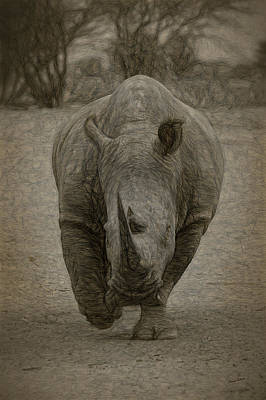 Digital Art - White Rhino 3a by Ernie Echols