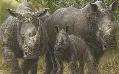 Painting - White Rhino Family - The Face That Only A Mother Could Love by Wayne Pruse