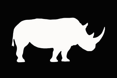 Digital Art - White Rhino Right by Ernie Echols