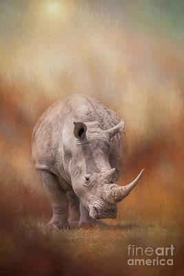 One Horned Rhino Digital Art - White Rhinoceros In Summer Sun by Sharon McConnell