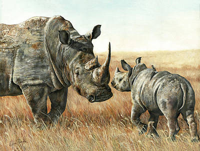 White Rhino Painting - White Rhinos by Leisa Temple