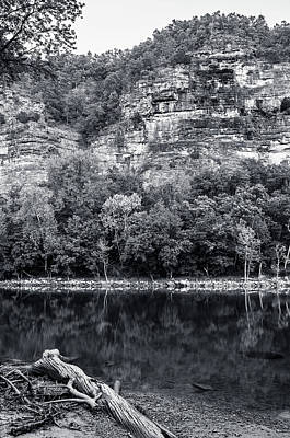 Photograph - White River, Arkansas Bw by Adam Reinhart