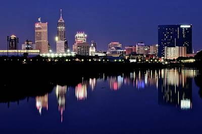 Photograph - White River Reflects Indy Skyline by Frozen in Time Fine Art Photography