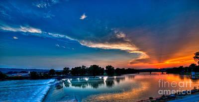 White River Sunset Art Print by Clayton Cavaness