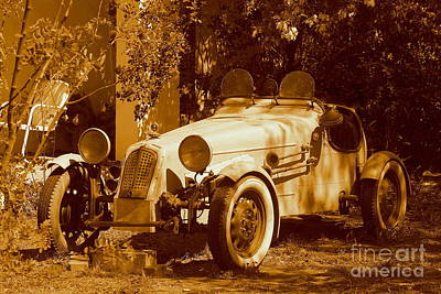 Photograph - White Roadster Vintage Automobile  In Temecula California by Michael Hoard