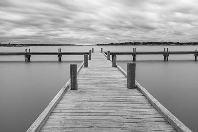 Photograph - White Rock Lake Pier Black And White by Robert Bellomy