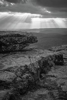 Photograph - White Rock Mountain Rays Of Sun - Black And White by Gregory Ballos