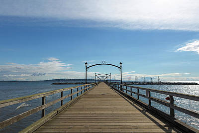 Summer Photograph - White Rock Pier Moorage In Bc Canada by David Gn