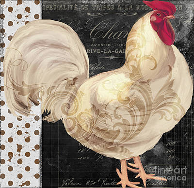 French Script Painting - White Rooster Cafe I by Mindy Sommers