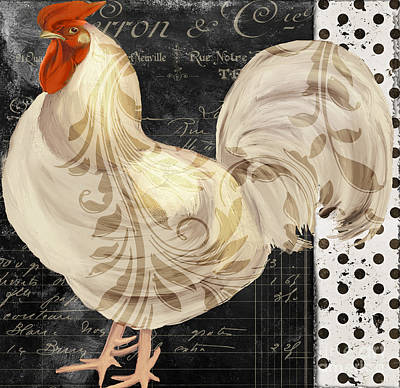 French Script Painting - White Rooster Cafe II by Mindy Sommers