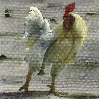 White Rooster Art Print by John Reynolds