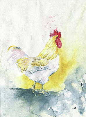 Painting - White Rooster by Melly Terpening