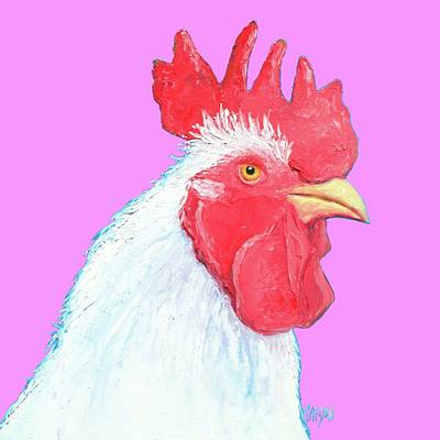 Mountain Landscape - White Rooster on pink background by Jan Matson