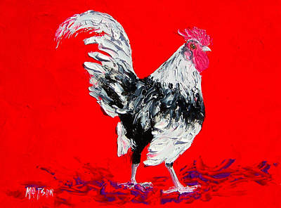 Rooster Painting - White Rooster On Red Background by Jan Matson