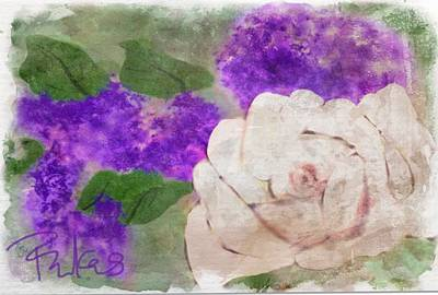 Digital Art - White Rose And Lilacs by Diana Riukas
