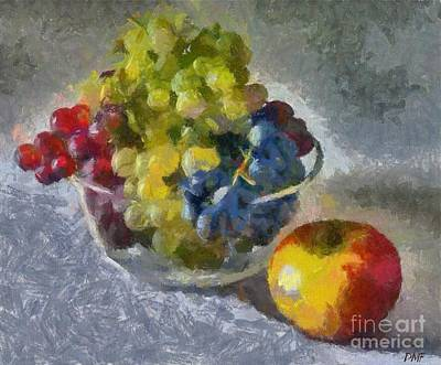Still Life Painting - White, Rose And Red Grapes by Dragica  Micki Fortuna