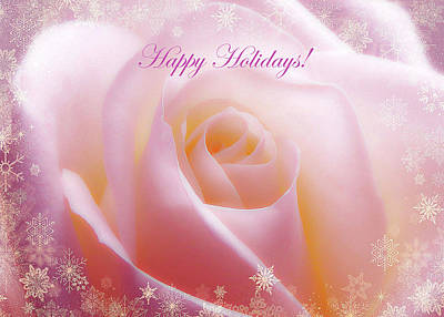 Photograph - White Rose Gold Snow Happy Holidays by Johanna Hurmerinta