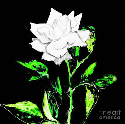 Painting - White Rose On Black, Painting by Irina Afonskaya