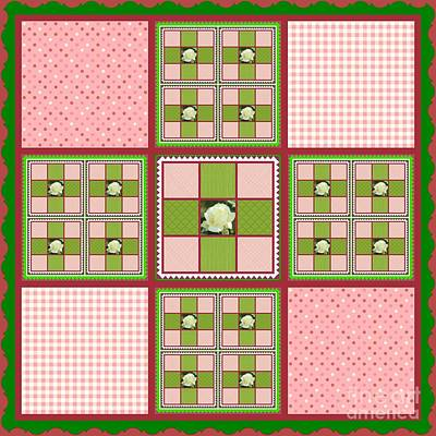 Photograph - White Rose Patchwork Quilt Design by Bobbee Rickard