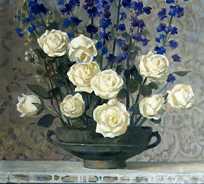 Painting - White Roses And Blue Cornflowers by Robert Holden