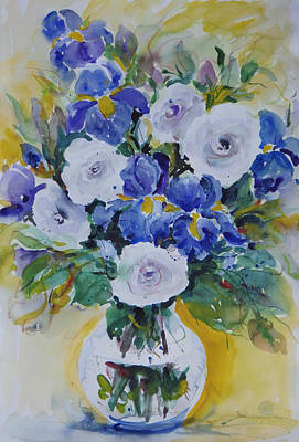 Painting - White Roses And Irises by Ingrid Dohm