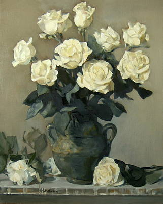 Painting - White Roses In A Rustic Green Pottery Vase On A Cupboard Shelf by Robert Holden