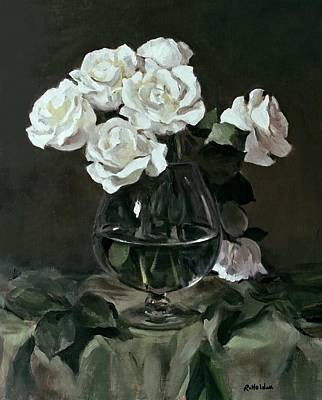 Painting - Seven White Roses In Brandy Snifter On Green Drape by Robert Holden
