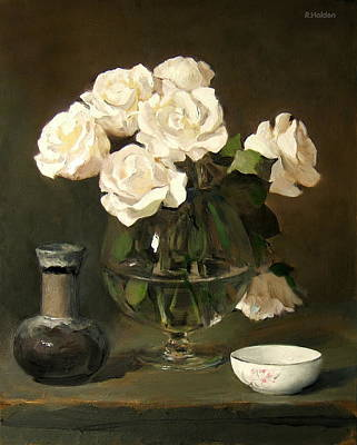 Snifter Painting - White Roses In Brandy Snifter With White Bowl And A Pitcher by Robert Holden