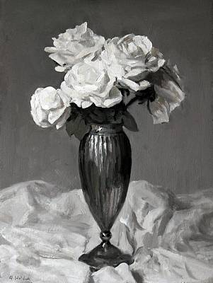 Painting - White Roses In Fluted Silver Vase by Robert Holden