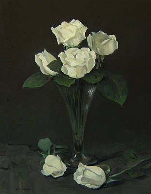 Painting - Four Off-white Roses In Glass Trumpet Vase by Robert Holden