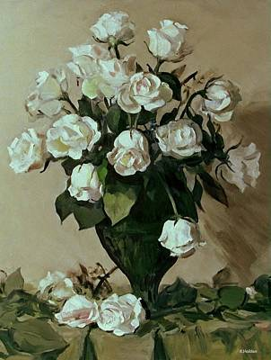 Moroccan Vase Painting - White Roses In Green Pottery Vase by Robert Holden