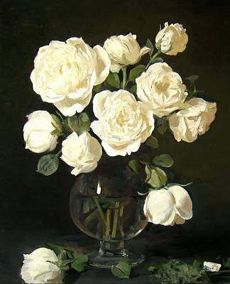 Stemware Painting - More White Roses In Brandy Snifter by Robert Holden