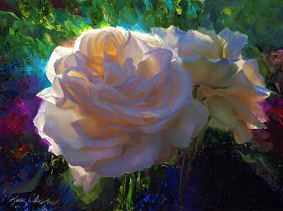Painting - White Roses In The Garden - Backlit Flowers - Summer Rose by Karen Whitworth