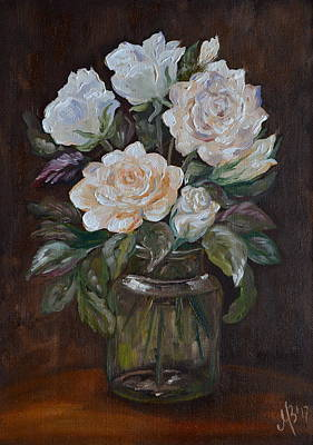 White Roses In The Glass Jar Original