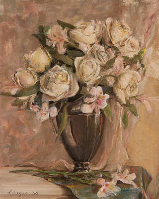 Silver Pitcher Painting - White Roses  by Katherine Seger