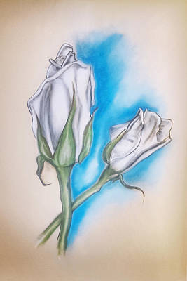 Art Print featuring the pastel White Roses by Keith A Link