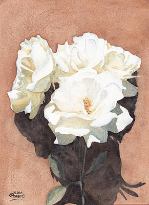 Rose Painting - White Roses by Ken Powers