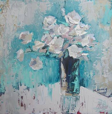 White Roses Palette Knife Acrylic Painting Art Print by Chris Hobel
