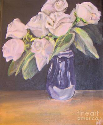Art Print featuring the painting White Roses by Saundra Johnson
