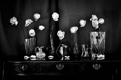 Wall Art - Photograph - White Roses Still Life by Wendy Blomseth