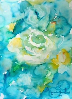 Painting - White Roses by Wanvisa Klawklean