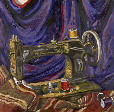 Wall Art - Painting - White Rotary Sewing Machine by Katherine Farrell