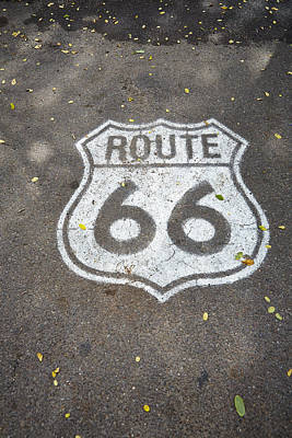 Traffic Signs Photograph - White Route 66 Sign Painted On Street by Gillham Studios
