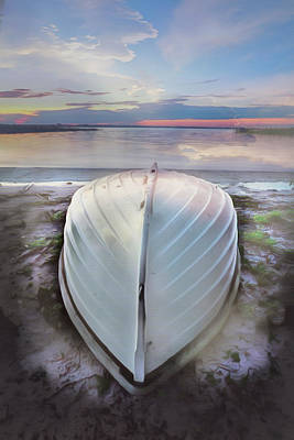 Photograph - White Rowboat Waiting On A Blue Morning  by Debra and Dave Vanderlaan